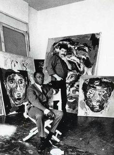 Miles Davis and Karel Appel ( Dutch painter, sculptor and poet).