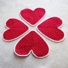 Valentines Heart Crocheted Coasters set of 4 Burgundy by ArtStitch, $15.90