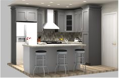 Customer design using Lily Ann Cabinets Grey Shaker Elite line. Get a FREE design + quote today! 3d Design, Tool Design, Lily Ann Cabinets, 3d Kitchen Design, Professional Kitchen, Design Quotes, Design Your Own, Kitchen Cabinets, Grey