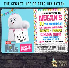 The Secret Life Of Pets Movie Ticket Birthday by instantparty