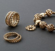Go all in on gold #PANDORA 14kt rings and charms