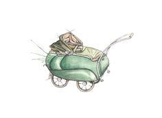 """""""Simo barnevogn"""" (Norwegian vintage stroller)  Copyright: Emmeselle.no   illustration by Mona Stenseth Larsen"""