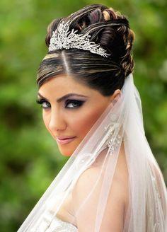 Wedding updos with veils birdcage style