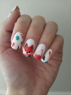 Fall Fox autumn nail art