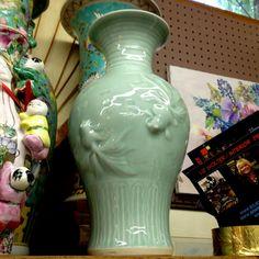 KOI FISH Celadon Vase / Chinese Porcelain / by EclectibleParts4U, $158.00