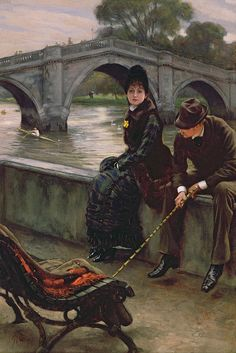 """Richmond Bridge"" (ca. 1878) von James Jacques Joseph Tissot (geboren am 15. Oktober 1836 in Nantes, gestorben am 8. August 1902 in Buillon), französischer Maler und Grafiker."
