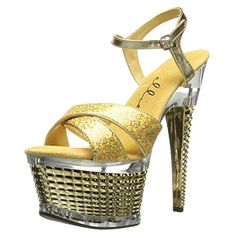 d7c4e0440a1 Womens 6 Inch Stiletto Heel Textured Platform Sandal Shoes Crossed Strap  Gold Size 10   Learn more by visiting the image link. Sandals For Women