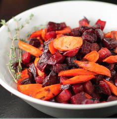 carrots and beets in honey and thyme