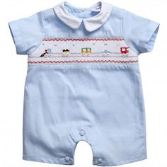 Annafie Baby Boys Blue Hand-Smocked Romper with Trains at Childrensalon.com