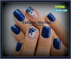 uñas azules flor blanca y puntos Pretty Nail Designs, Nail Art Designs, Bella Nails, Polka Dot Nails, Nail Patterns, Pastel Nails, Nail Tips, Nail Ideas, Flower Nails