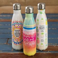 Stainless Style Happy Water Bottles
