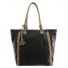 Large Leatherette Tote with Contrasting Trim