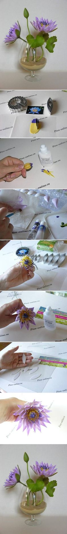 How to make Polymer Clay Lotus Flowers step by step DIY tutorial instructions / How To Instructions