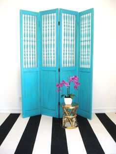 Vintage Turquoise Blue Room Divider Screen From Reclaimed Doors
