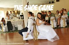 Http://www.meshkomoments.com/the-shoe-game/ Wedding reception game idea. The shoe game.