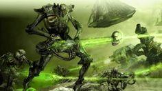 Preview wallpaper robots, creatures, weapons, laser, battle 1920x1080