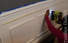How to Install Picture Frame Moulding Wainscoting - ToolBox Divas Picture Frame Wainscoting, Beadboard Wainscoting, Wainscoting Nursery, Dining Room Wainscoting, Wainscoting Panels, Picture Frame Molding, Picture Frames, Wainscoting Ideas, Stair Paneling