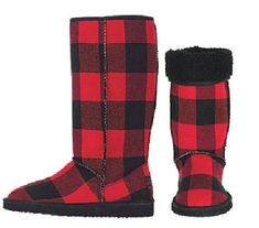 "Find Buffalo Check Anything for Great Prices from Alloy.com  Red/ Black Buffalo Check Cozi Boot (Similar Look to Ugg) $44.50  12"" Tall- Faux..."