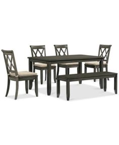 Russet 6-Piece Dining Set (Dining Table, 4 Chairs and Bench) | macys.com