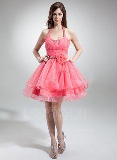 Fancy - A-Line/Princess Halter Short/Mini Organza Homecoming Dress With Ruffle Beading Flower(s) (022021050) - AmorModa