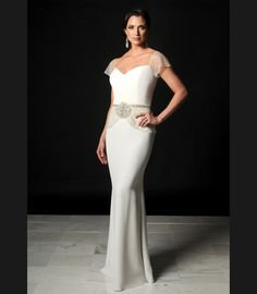 8009 | Daymor Couture, really like the sheer lace sleeves and the lace belt styling, I like the look.