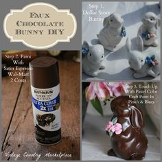 The Home Do The Job Bench - Your Own Home Base For All Do It Yourself Get The Job Done Assignments Vintage Country Style: Faux Chocolate Bunny Diy. These Are Adorbs Spring Crafts, Holiday Crafts, Holiday Fun, Holiday Ideas, Holiday Foods, Festive, Style Vintage, Vintage Country, Country Style