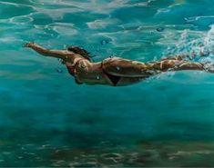 Underwater Painting, Underwater Photos, Underwater Photography, Art Photography, Eric Zener, Painting People, Figure Painting, Realistic Paintings, Beauty Art