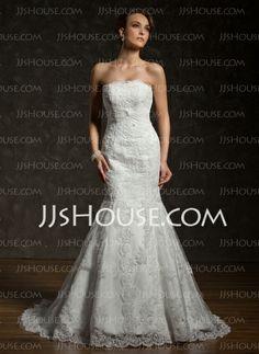 Wedding Dresses - $246.99 - Mermaid Strapless Chapel Train Satin Tulle Wedding Dress With Lace Beadwork (002000634) http://jjshouse.com/Mermaid-Strapless-Chapel-Train-Satin-Tulle-Wedding-Dress-With-Lace-Beadwork-002000634-g634