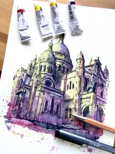 Sacre-Coeur, Montmartre, Paris, France. Travelling, Drawing and Painting. By Akihito Horigome.