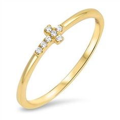 Sterling Silver Gold Tone CZ Sideway Cross Ring Sz 4-10 105696123456 for only $6.99