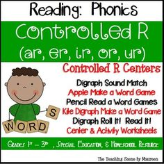 Great Phonic Games to Practice Controlled R for K-2nd, Special Education & Home Schooled Children.  Resource includes Controlled R Sound Match; Apple Make a Word Game; Pencil Read a Word Games; Kite Controlled R Make a Word Game; Digraph Roll It!  Read It!  & Activity Worksheets.  Kids have some Controlled R fun while learning!