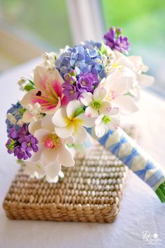 hydrangea+&+plumeria+bouquet | DK Designs: Spring Inspired Bouquet