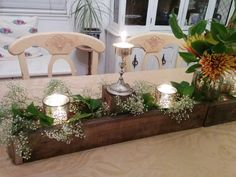 Holiday table decor.  Handmade rustic reclaimed candle/flower pot holder.  Thanksgiving Christmas Easter Special occasion baby's breath Camilla's dragon