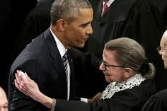 President Barack Obama adorably embraced Supreme Court Justice Ruth Bader Ginsburg before taking the podium for his final State of the Union address Tuesday night. Barack Obama, New York Times, Donald Trump, Justice Ruth Bader Ginsburg, Soft Power, Supreme Court Justices, State Of The Union, Former President, Women In History