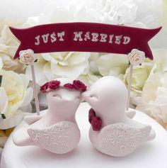 Pastel de bodas Topper pájaros del amor, Burdeos y Beige, Banner personalizado…