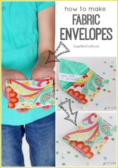 This would be a fun beginner-sewing project and a fun way to showcase cute fabric. Win win!! - - Fabric Envelopes via Sugar Bee Crafts