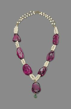 A rare and important spinel bead and cultured pearl necklace #christiesjewels