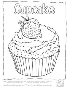 """iColor """"Cupcakes"""" ~ Poppyseed Cupcake with a Strawberry on Top. Color it? I want to eat it!"""