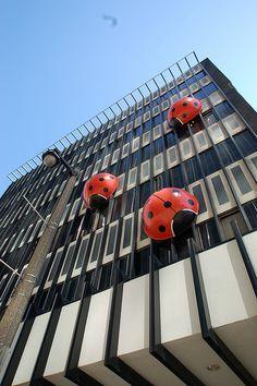 "The ""ladybug"" building, downtown Milwaukee. Picasso, Street Art, Milwaukee Wisconsin, Milwaukee City, Roadside Attractions, Public Art, Architecture, Installation Art, Travel Usa"