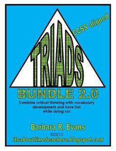 TRIADS BUNDLE 2.0 brings you 3 sets of TRIADS (IV, V, & VI) in one product for 20% savings. Great for HOTS! $  #CCSS #Gifted #Triads #criticalthinking #higherorderthinkingskills #enrichment #vocabulary #BarbEvans #itsabouttimeteachers