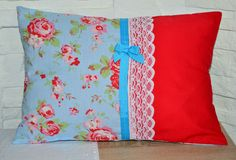 SHABBY CHIC CUSHION COVER HANDMADE USING CATH KIDSTON FOR IKEA ROSALI FABRIC ON THE FRONT AND ON THE REVERSE.FASTENS WITH RIBBON AND LACE.TWO RIBBONS ON THE BACK.100% COTTONAPPROX SIZE 44cm x 30cm