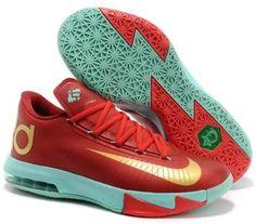brand new 037ca cbbfd Cheap Nike KD VI Christmas Light Crimson - Metallic Gold - Green Glow For  Wholesale