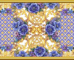 Decorative composition with blue flowers and golden scrolls by Maria Rytova