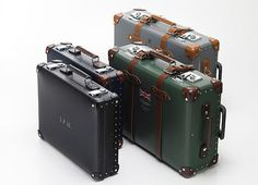 Beautiful suitcases by Globe-Trotter for Hackett