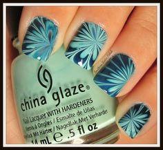 Water Marble Nail Art - China Glaze