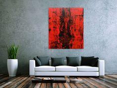 Abstraktes gemälde schwarz rot modern schlicht minmalistisch 140x100cm von xxl-art.de