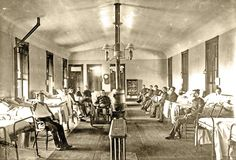 The interior of a late 19th-century military medical ward, like this one at Fort Riley in Kansas in 1899, was a far cry from earlier wards that, in some instances, barely kept patients out of the elements.  – Courtesy Sidney B. Brinkerhoff Collection –