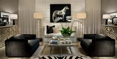Wade Allyn Hallock Elle Decor, Oversized Mirror, Black And White, Living Room, Elegant, Chic, Modern, White Decor, House