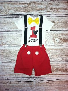 Mickey Mouse Birthday Outfit  ***3 Piece Set includes: Personalized shirt, suspenders and bow. **You also have the option to add either shorts or…