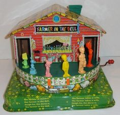 The Farmer in the Dell Mattel Music Maker Toy, 1953 Tin Toys, Toys For Girls, Vintage Books, Back In The Day, Vintage Children, My Childhood, Kids Playing, Farmer, Musicals